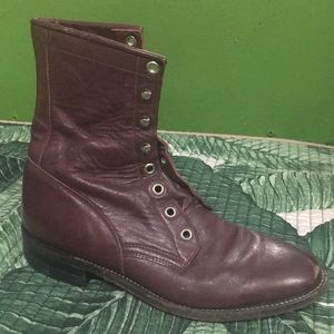 Justin Boots Vtg burgundy maroon 6.5 lace up ankle